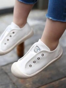 White Round Toe Flat Cute Ankle Shoes