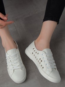 White Round Toe Rivet Fashion Ankle Shoes