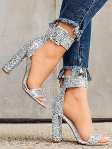 Silver Glitter Round Toe Chunky Sequin Fashion Prom Party High-Heeled Sandals