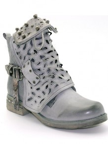 Grey Round Toe Chunky Rivet Cut Out Fashion Boots