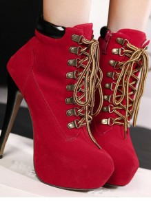 Red Round Toe Stiletto Patchwork Cross Strap Fashion Boots
