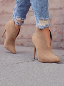 Khaki Point Toe Stiletto Fashion Ankle Boots