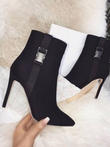 Black Point Toe Stiletto Buckle Fashion High-Heeled Boots