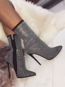 Silver Point Toe Stiletto Zipper Mid-Calf Rhinestone Fashion High-Heeled Boots