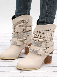 Bottes bout rond strass trapu cheville beige