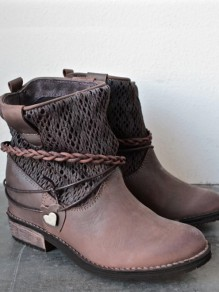 Brown Round Toe Metal Decoration Chunky Ankle Boots