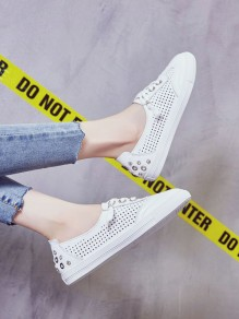 White Round Rhinestone Casual Ankle Shoes