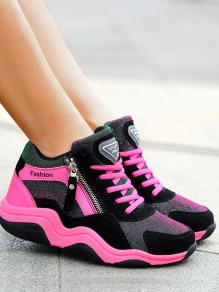 Black And Pink Round Toe Lace-up Zipper Fashion Ankle Shoes
