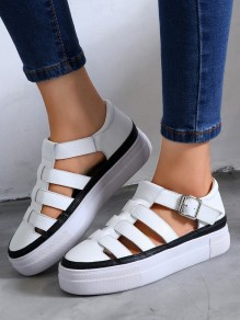 White Round Toe Flat Cut Out Buckle Fashion Ankle Shoes