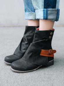 Black Round Toe Buttons Fashion Mid-Calf Boots