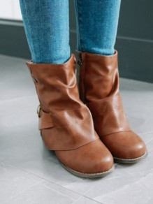 Brown Round Toe Buttons Fashion Mid-Calf Boots