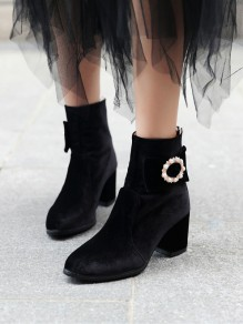 Black Round Rhinestone Pearl Casual High-Heeled Boots