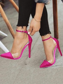Wine Red Point Toe Stiletto Patchwork Buckle Fashion High-Heeled Shoes