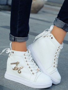White Round Toe Zipper Fashion Ankle Shoes