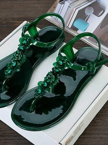 Dark Green Round Toe Flat Flower Clear PVC Fashion Ankle Sandals