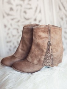 Camel Round Toe Chunky Lace Stitching Fashion Boots
