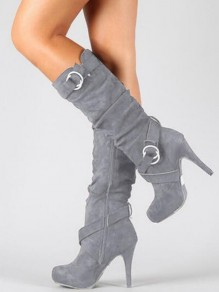 Grey Point Toe Stiletto Fashion Mid-Calf Boots