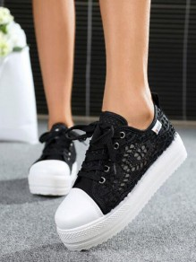 Black Round Toe Flat Cut Out Patchwork Fashion Shoes