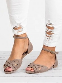 Grey Round Toe Fashion Ankle Sandals