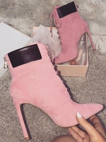 Pink Point Casual High-Heeled Boots