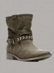 Army Green Round Toe Fashion Ankle Boots