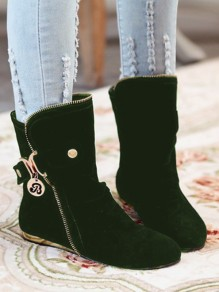 Army Green Round Toe Zipper Fashion Ankle Boots