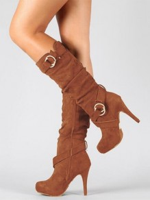 Brown Round Toe Metal Decoration Fashion Mid-Calf Boots