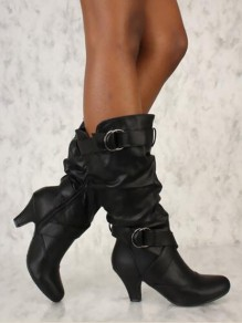 Black Round Casual Ankle Boots
