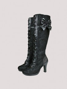 Black Round Toe Chunky Bow Lace Stitching Fashion Mid-Calf Boots
