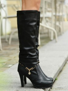Bottes bout rond mode strass noir