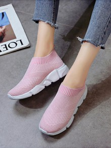 Pink Round Toe Casual Ankle Shoes