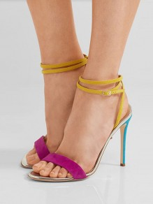 Multicolor Round Toe Stiletto Patchwork Buckle Fashion High-Heeled Sandals