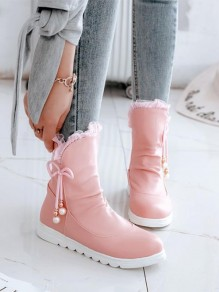 Pink Round Toe Bow Pearl Fashion Ankle Boots