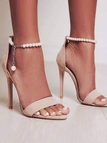 Beige Round Toe Stiletto Pearl Chain Fashion High-Heeled Sandals