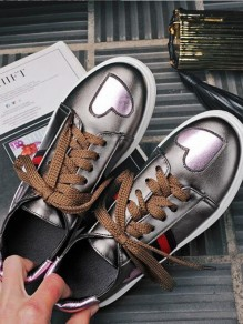 Rifle Colour Round Toe Flat Patchwork Casual Shoes