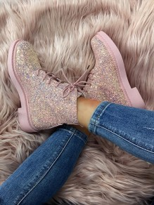 Pink Round Toe Sequin Fashion Ankle Boots