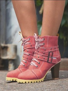 Red Round Toe Chunky Rivet Cross Strap Fashion Boots