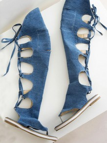 Blue Round Toe Lace-up Fashion Ankle Sandals