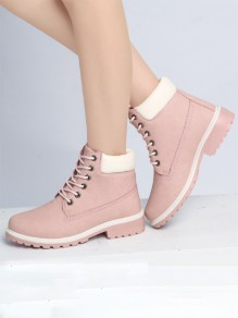 Pink Round Toe Lace-up Fashion Ankle Boots