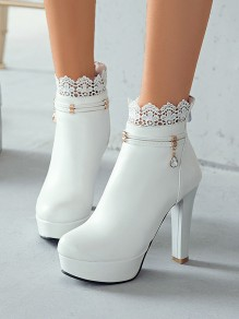 White Round Toe Chunky Rhinestone Lace Fashion High-Heeled Boots