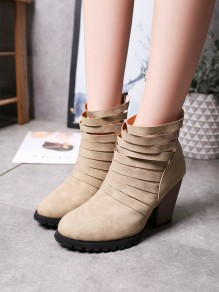 Beige Round Casual High-Heeled Boots
