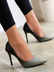 Grey Point Toe Stiletto Fashion High-Heeled Shoes