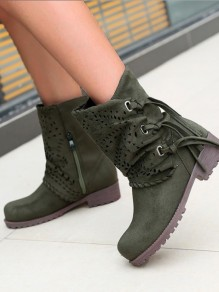 Army Green Round Toe Fashion Boots