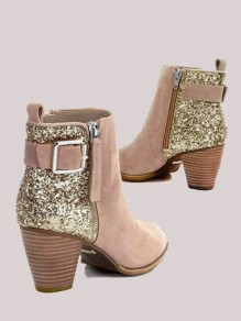 Khaki Round Toe Chunky Sequin Fashion Ankle Boots