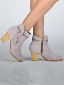 Light Grey Round Toe Chunky Tassel Fashion Ankle Boots