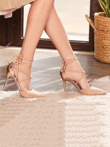 Apricot Point Toe Stiletto Patchwork Fashion High-Heeled Sandals