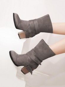 Grey Round Toe Chunky Cross Strap Fashion Ankle Boots