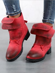 Red Round Toe Chunky Cross Strap Fashion Ankle Boots
