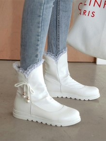 White Round Toe Bow Pearl Fashion Ankle Boots