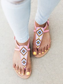 Pink Round Toe Print Fashion Ankle Sandals